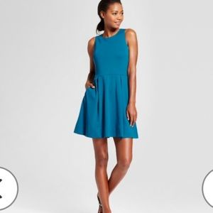 A New Day blue fit and flare pleated dress